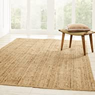 Superior Hand Woven Natural Fiber Reversible High Traffic Resistant Braided Jute Area Rug, 3' x 5'