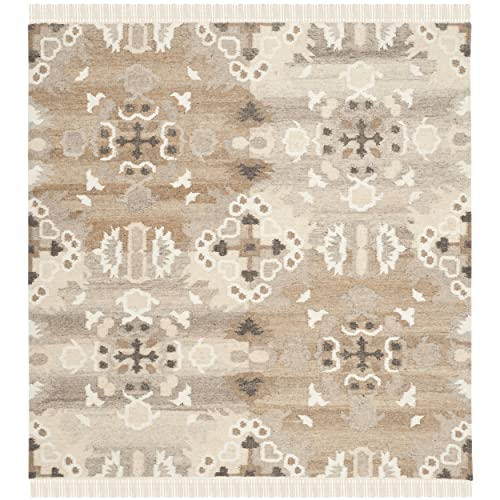 Safavieh Natural Kilim Collection NKM318A Flatweave Grey and Multi Wool Square Area Rug 7 Square