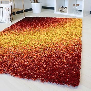 Amazon De Shaggy Langflor Teppich In Orange Rot Verlauf Hochflor