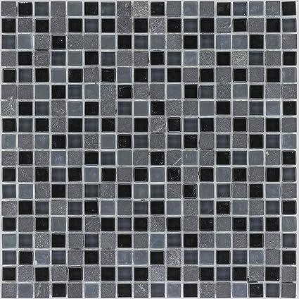 Carrelage mosaïque noir gris sol douche toilettes murale ...
