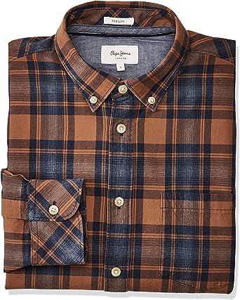 Pepe Jeans Camisa Hombre Stephen Marrón Y Azul: Amazon.es: Ropa y accesorios