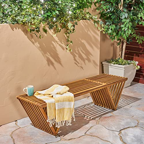 Christopher Knight Home 305722 Esme Outdoor Acacia Wood Bench, Teak Finish