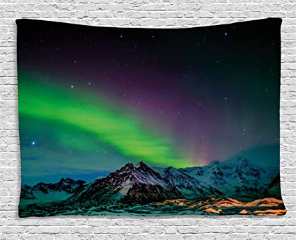 Ambesonne Northern Lights Tapestry, Southern Iceland On Sky Over Rocky  Hills Wild Night View,
