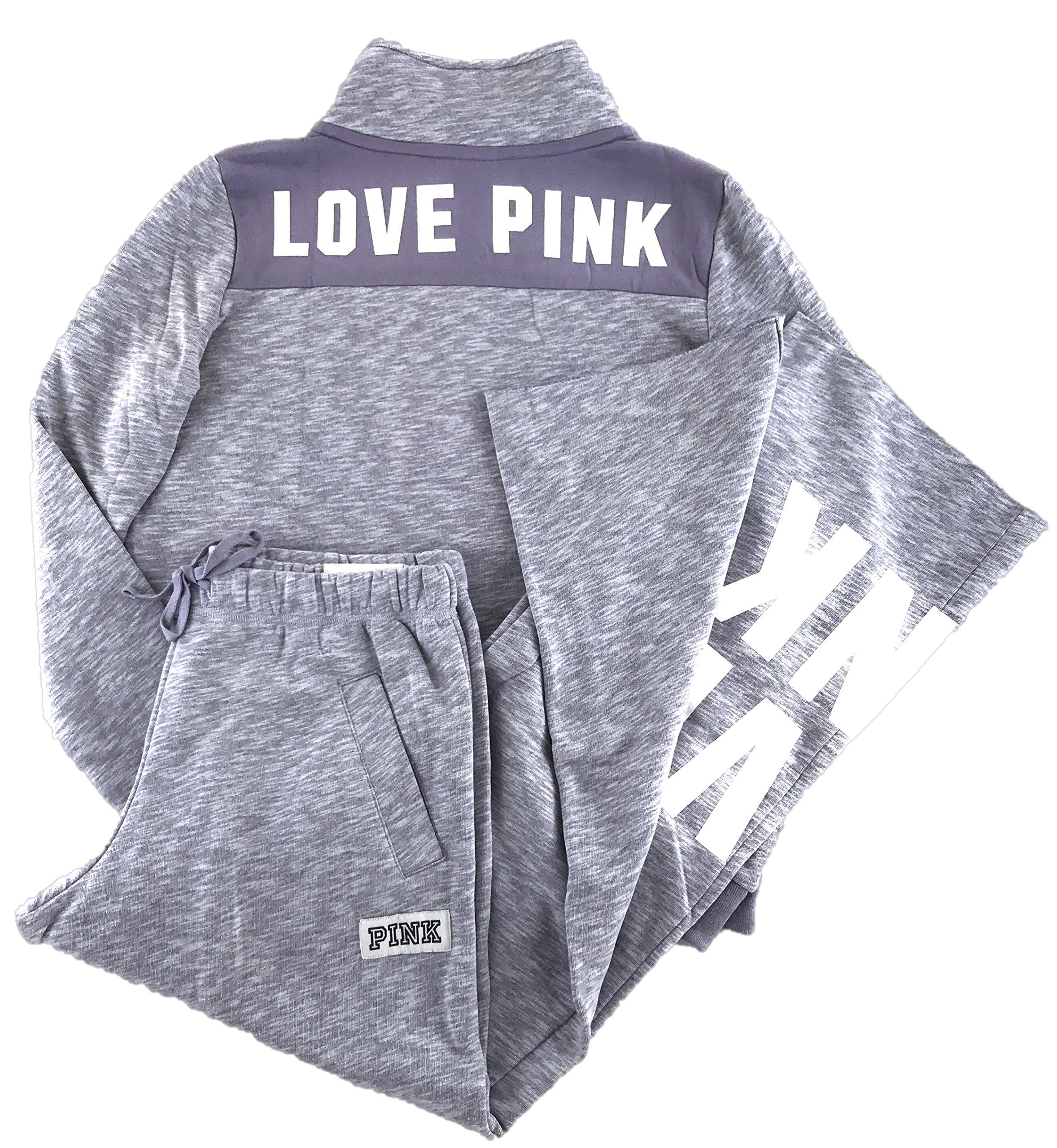 Victoria's Secret Pink Perfect Quarter Zip and Sweat Pants Set Frosty Purple Large