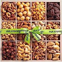 Holiday Nut Gift Basket, Wood Tray Green Ribbbon (12 Mix) - Thanksgiving, Christmas Food Arrangement Platter, Variety…