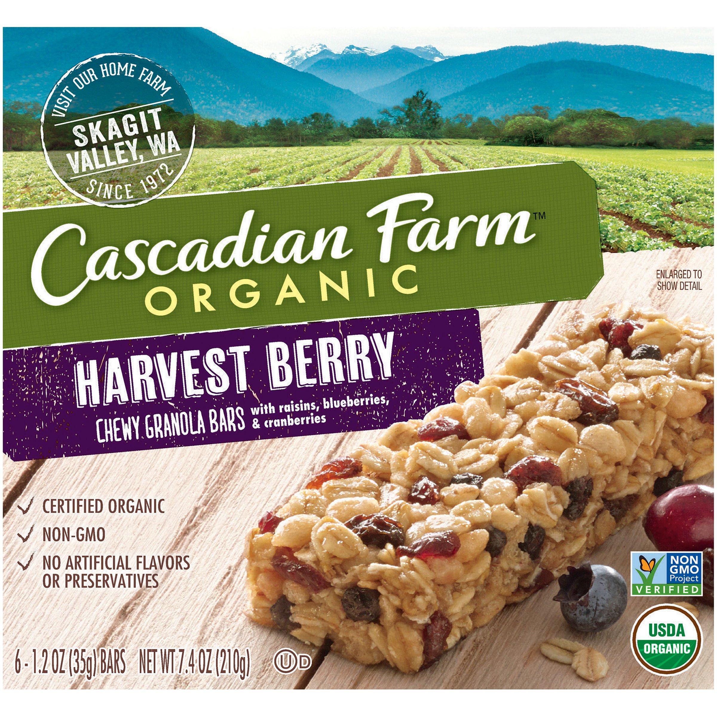 Cascadian Farm Chewy Granola Bar Organic non-GMO Harvest Berry 6-1.2 oz Bars