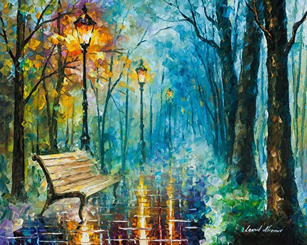 Amazon Com Glossy Wall Art Blue Oil Painting On Canvas By