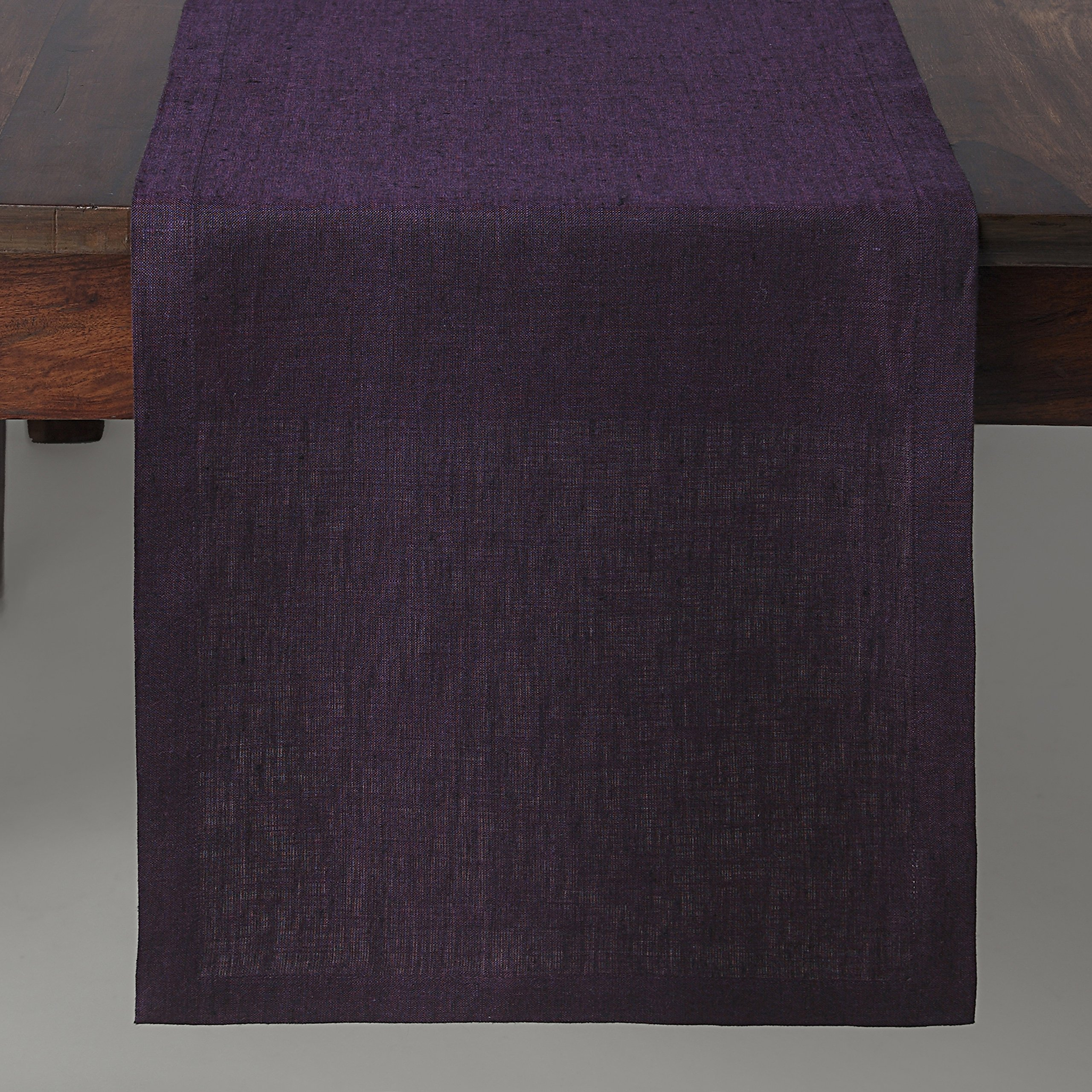 Solino Home 100% Pure Linen Table Runner Athena, Natural Fabric Handcrafted Runner, Purple 14 x 36 Inch by Solino Home (Image #3)