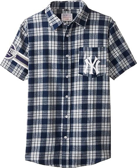 FOCO KLEW MLB New York Yankees Wordmark - Camiseta de Franela de Manga Corta con Botones, Hombre, FLNSMBWMNYS, Team Color, Small: Amazon.es: Deportes y aire libre