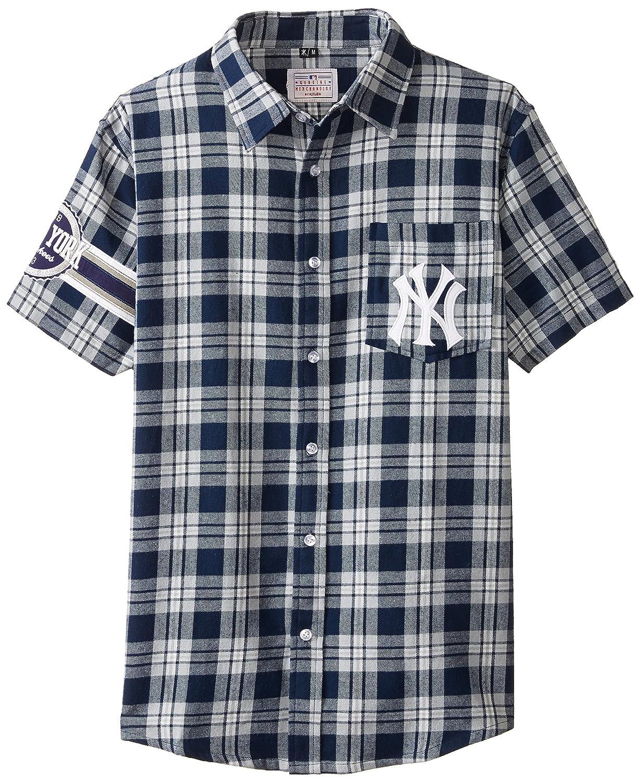 100 %品質保証 KLEW B00TO5NBOE MLBニューヨークヤンキースWordmarkフランネル半袖Yシャツ Large ブルー Large ブルー B00TO5NBOE, Kitchen Garden:1d82fa04 --- a0267596.xsph.ru