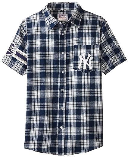 FOCO KLEW MLB New York Yankees Wordmark - Camiseta de franela de manga corta con botones