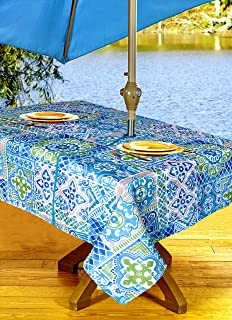 Gentil High Quality Outdoor Tablecloths, Umbrella Hole With Zipper Patio Tablecloth,  Stain Resistant, Spill