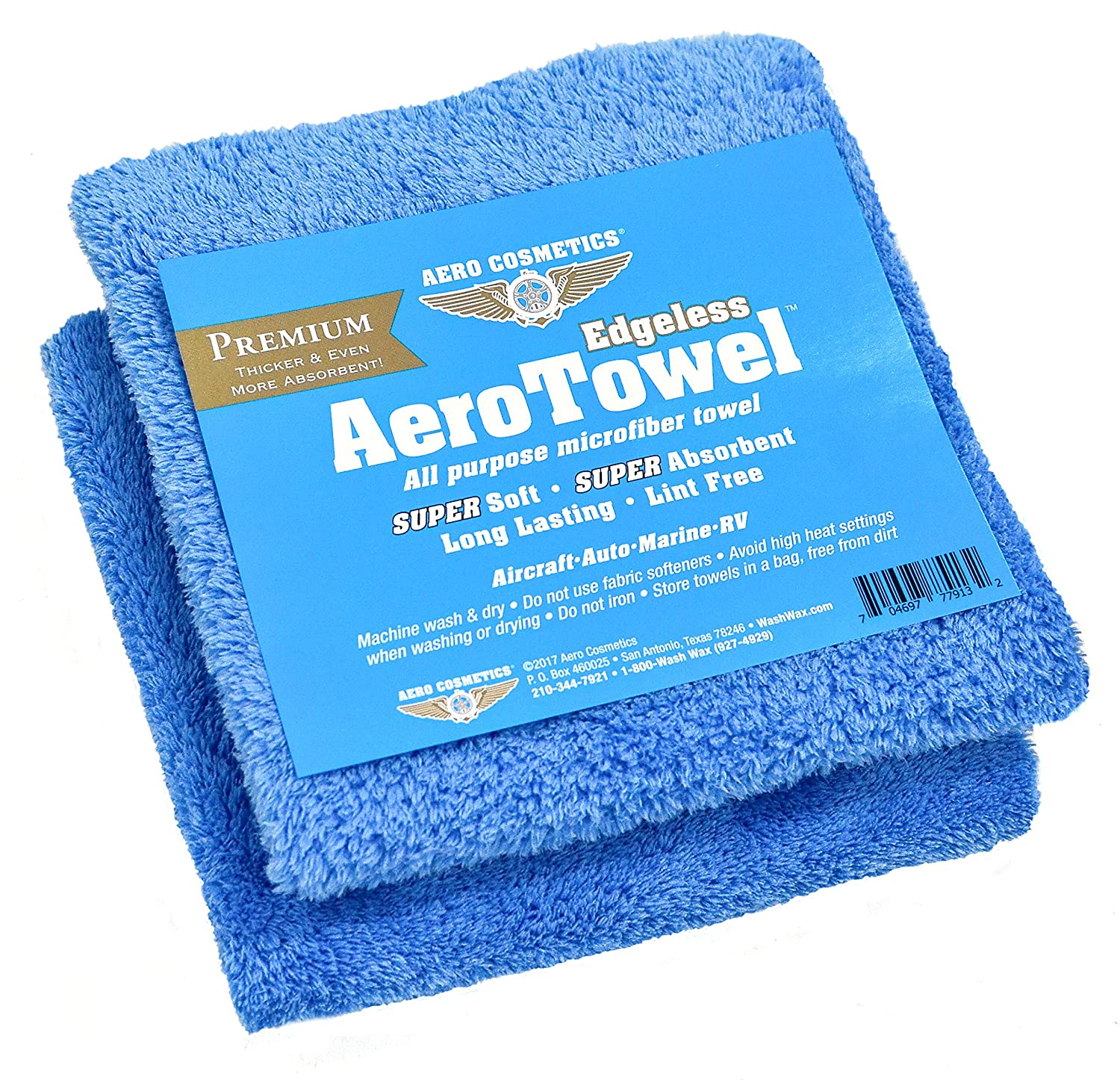 Premium Edgeless Microfiber Towels (2-Pack) Super Soft, Super Absorbent, Long Lasting, Lint Free for waterless car wash and wet washing! Aero Cosmetics