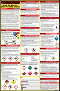How to Read A Safety Data Sheet (SDS/MSDS) Poster | English & Spanish 2020 | 24 x 36 Inch | UV Coated Paper Sign | OSHA, HMIS, Hazard Compliance Center | Display Instructions Chemical Labels (English)