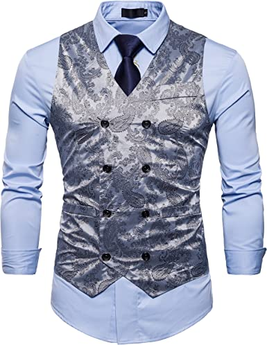 Showu Chalecos Hombre Paisley Elegante Formal Negocios Slim Fit Waistcoat