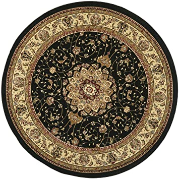 mohawk area rugs lowes collection traditional medallion black ivory round rug diameter 8x10 sizing