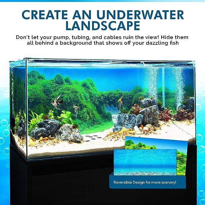 Fish Tank Backdrop Poster LakeHouseDecor,SingleFishingBoatontheLakeBeingAloneThemeinStillCalmWatersLifeArtprint,GreenBlue Underwater Backdrop Image Decor L36 X H20 inch