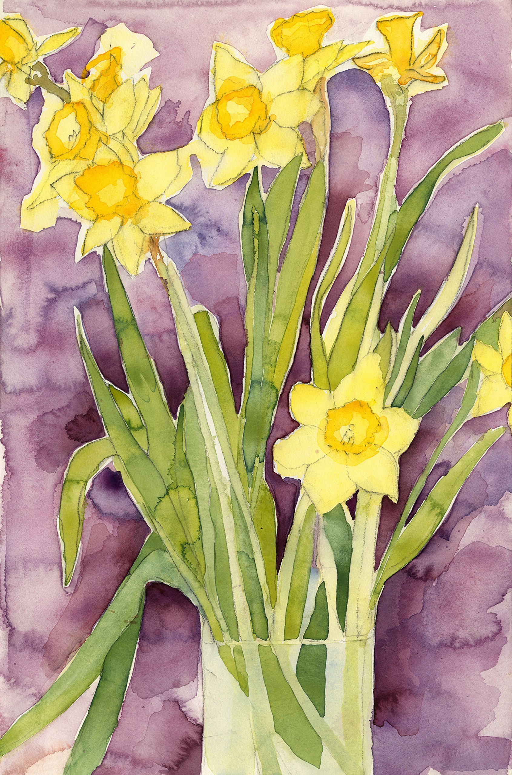 silk flower arrangements floral watercolor print - daffodils - fine art painting, wall decor, gift