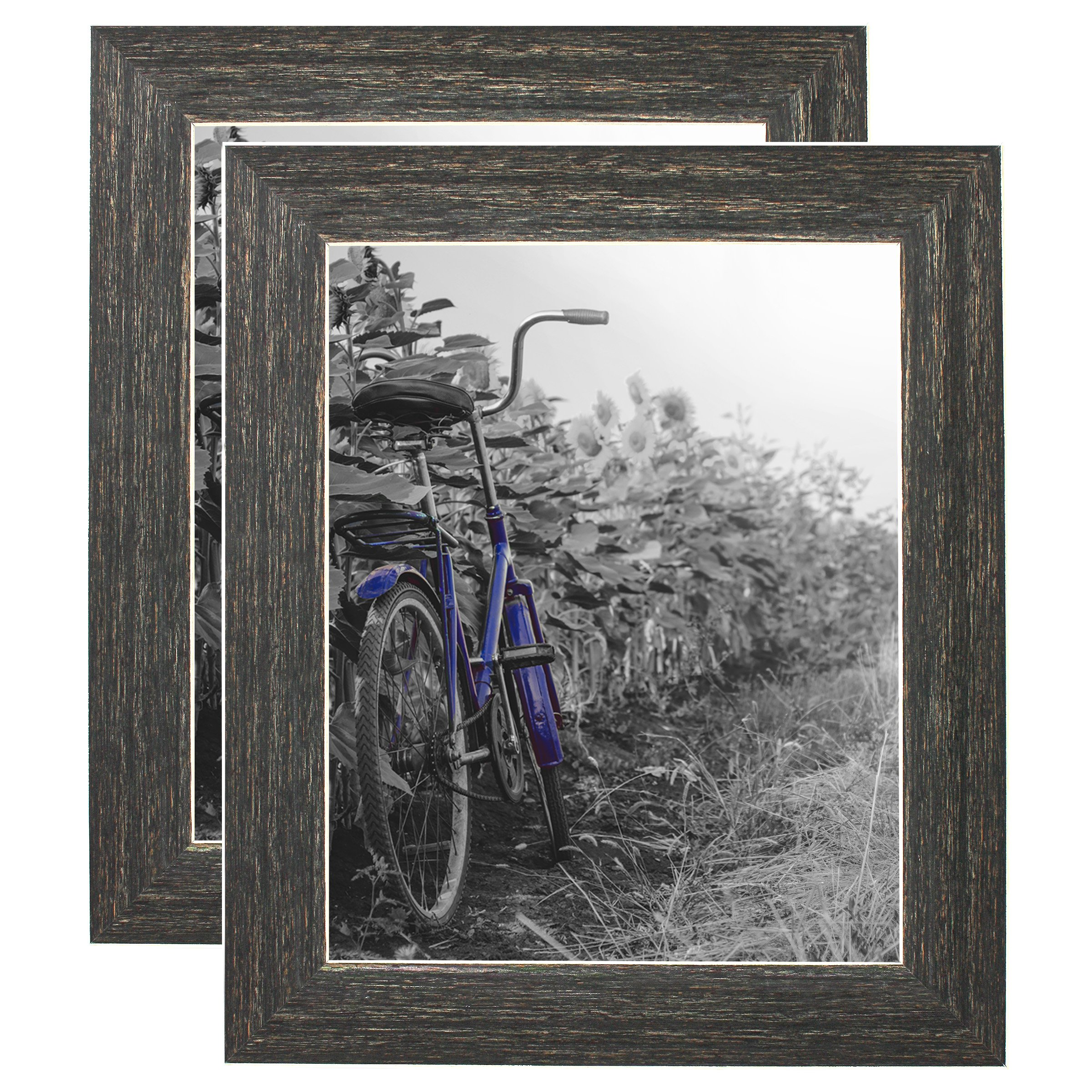Americanflat 2 Pack - 8x10 Barnwood Rustic Style Picture Frames with Easels - Made for Wall and Tabletop Display by Americanflat