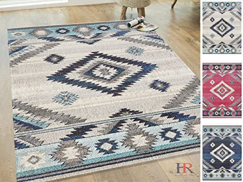 Handcraft Rugs-Southwestern Native American Modern Faded Area Rug -Bone Gray Navy Blue Ivory Aqua Approximately 8 ft. by 10 ft.