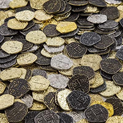 Metal Pirate Coins - 30 Gold and Silver Spanish Doubloon Replicas - Fantasy Metal Coin Pirate Treasure: Toys & Games
