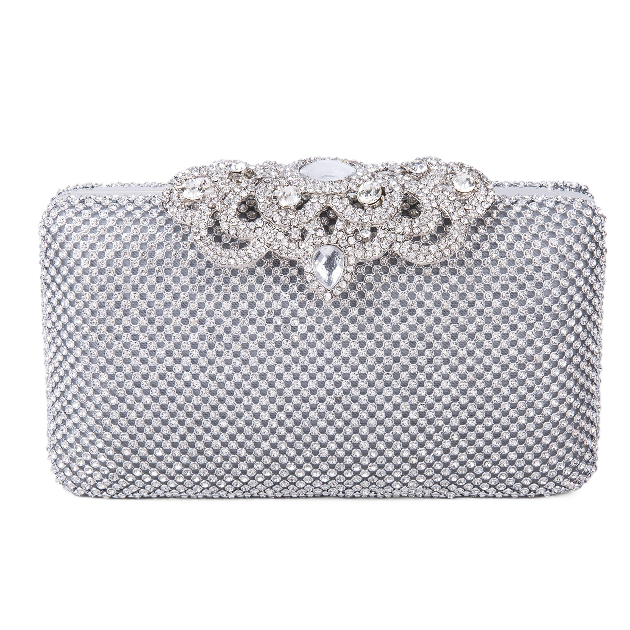 Lifewish Womens Crown Clutch Purse Bling Hard Box Rhinestone Crystal Evening Clutch(Silver)