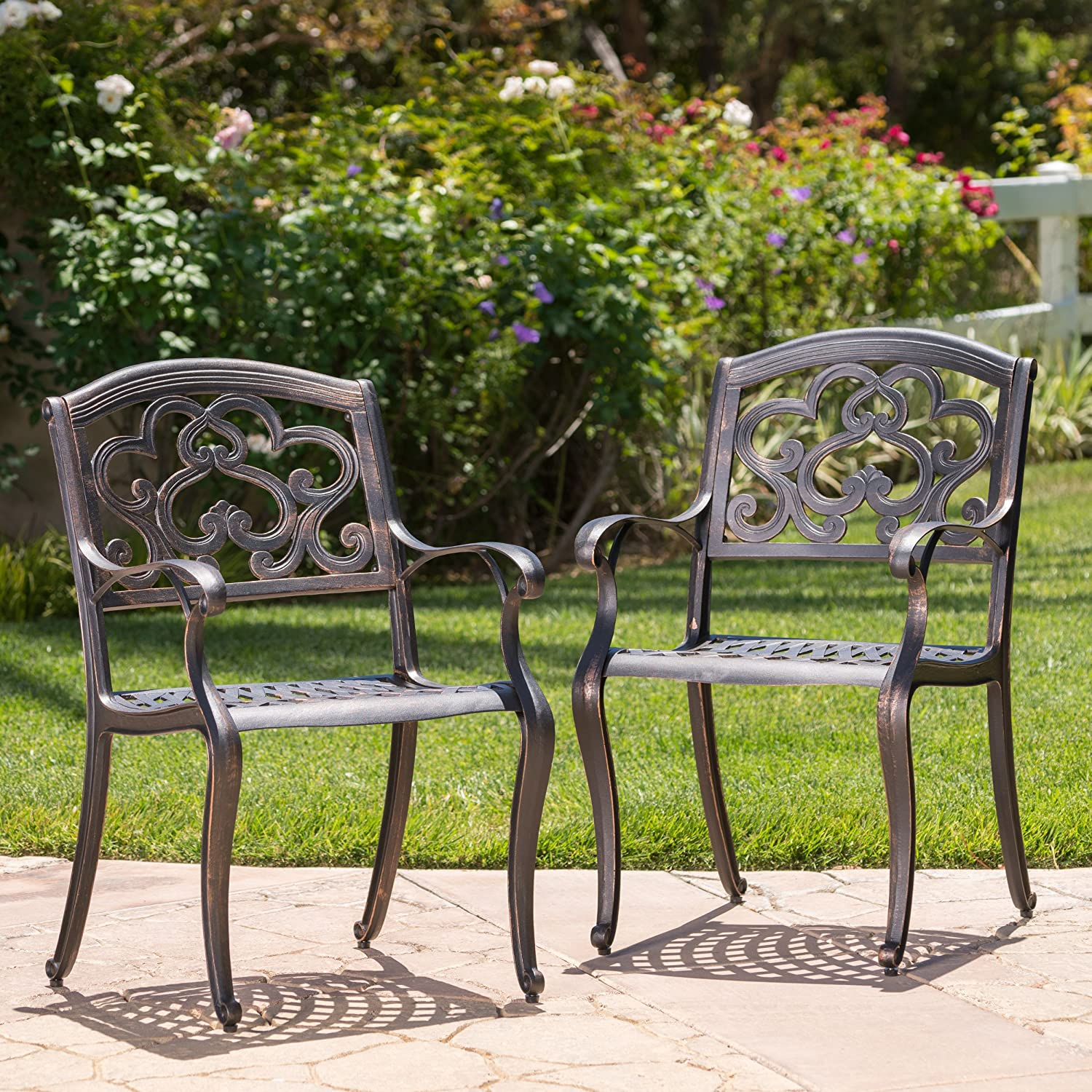 Christopher Knight Home Austin Outdoor Cast Aluminum Dining Chairs, 2-Pcs Set, Shiny Copper : Garden & Outdoor