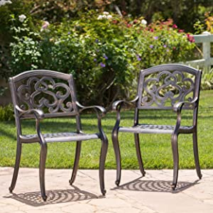 Christopher Knight Home 300663 Augusta Outdoor Cast Aluminum Dining Chairs (Set of 2), Copper