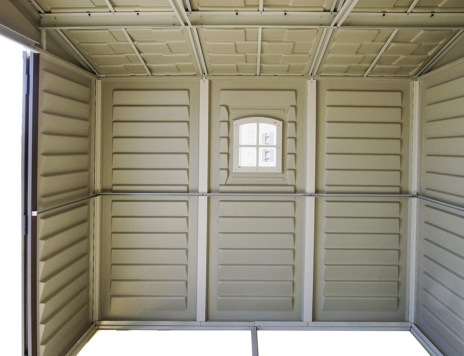 Duramax StorePro 4 x 6 Plastic Garden Shed with Plastic Floor /& Fixed Window 15 Years Warranty Ivory /& Brown