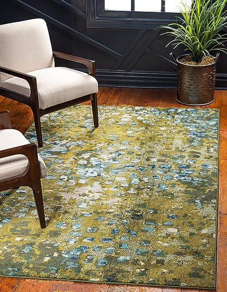 Amazon Com Unique Loom Jardin Collection Vibrant Abstract Green Area Rug 5 0 X 8 0 Furniture Decor