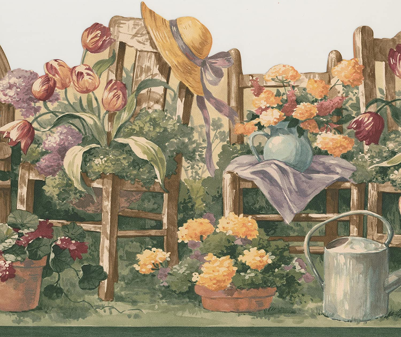 Floral Gardening Wallpaper Border Flowers For Kitchen Bathroom
