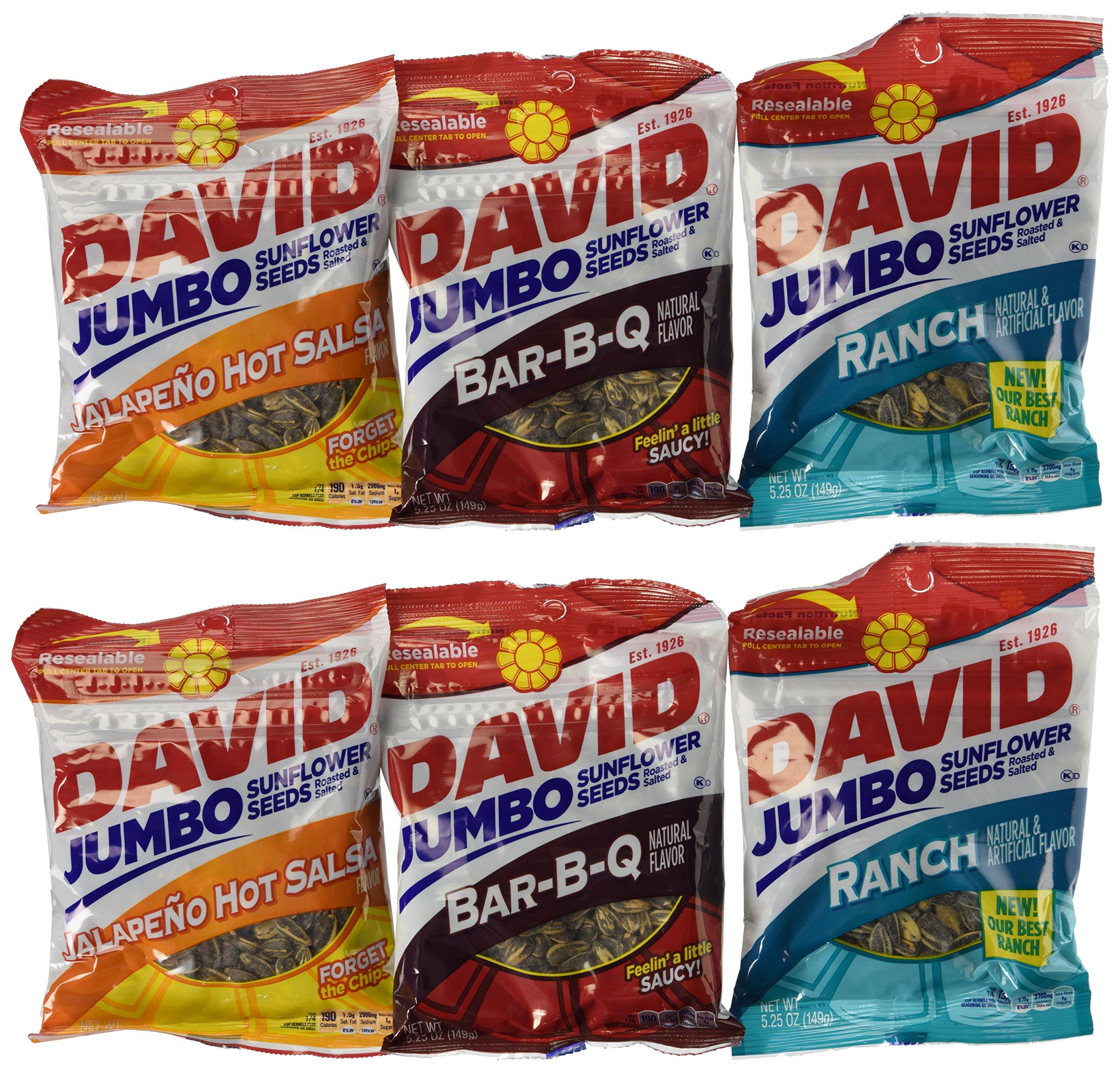 David Jumbo Sunflower Seeds, 5.25 oz Packages, Variety Bundle (Pack of 6)