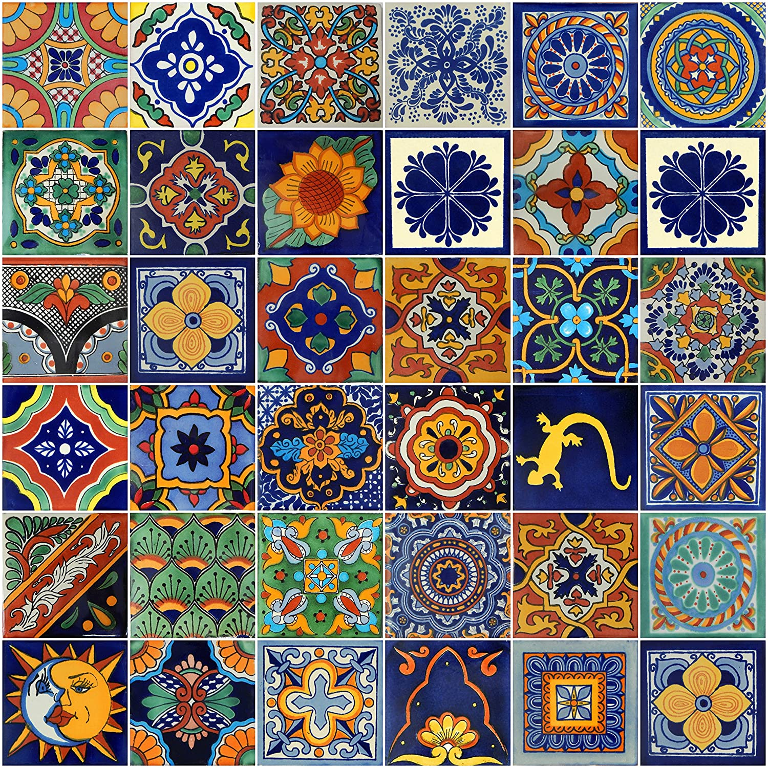 Color y Tradicion Mexican Tiles 4x4 Handpainted Hundred Pieces Assorted Designs 100 MIX 34 D