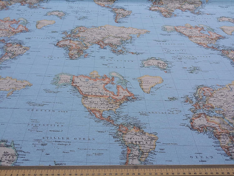 World map print 100 cotton designer curtains bedding cushion world map print 100 cotton designer curtains bedding cushion covers upholstery roman blinds fabric prestige fashion uk ltd amazon kitchen gumiabroncs Choice Image