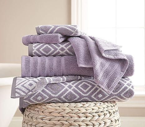 Costa del Pacífico textiles 6 pc hilo teñido toalla Oxford gris lavanda, juego de 6
