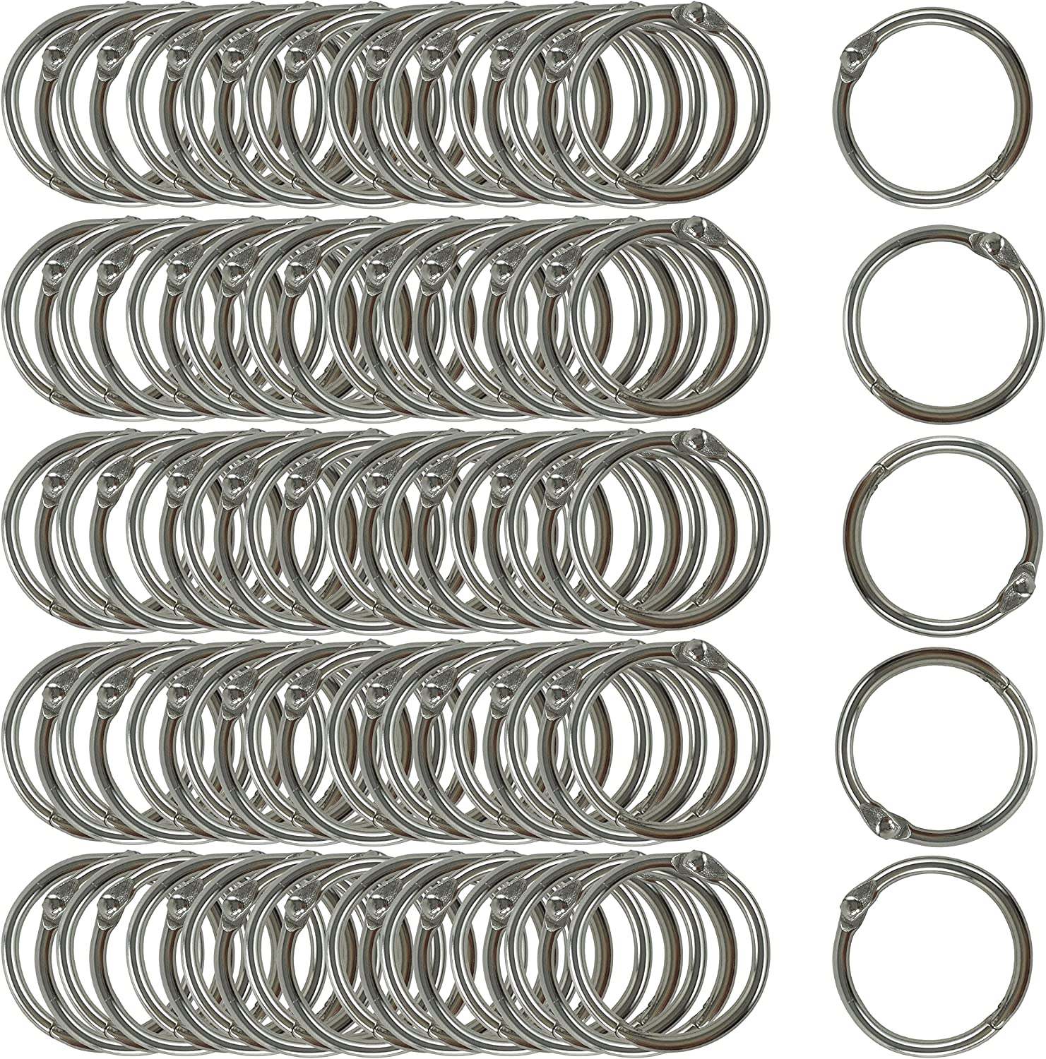 Clipco Book Rings Small 1-Inch Nickel Plated Metal (100-Pack)