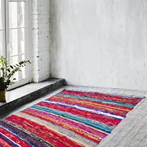 Eleet Eco Friendly 100% Recycled Cotton Chindi Rug - Hand Woven & Reversible for Living Room Kitchen Entry Runner (4x6 Feet, Blue Dyed Chindi Rug)