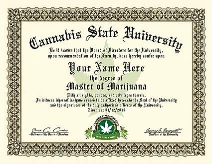 Amazon.com: Marijuana / Pot - Masters Degree Diploma / Certificate ...