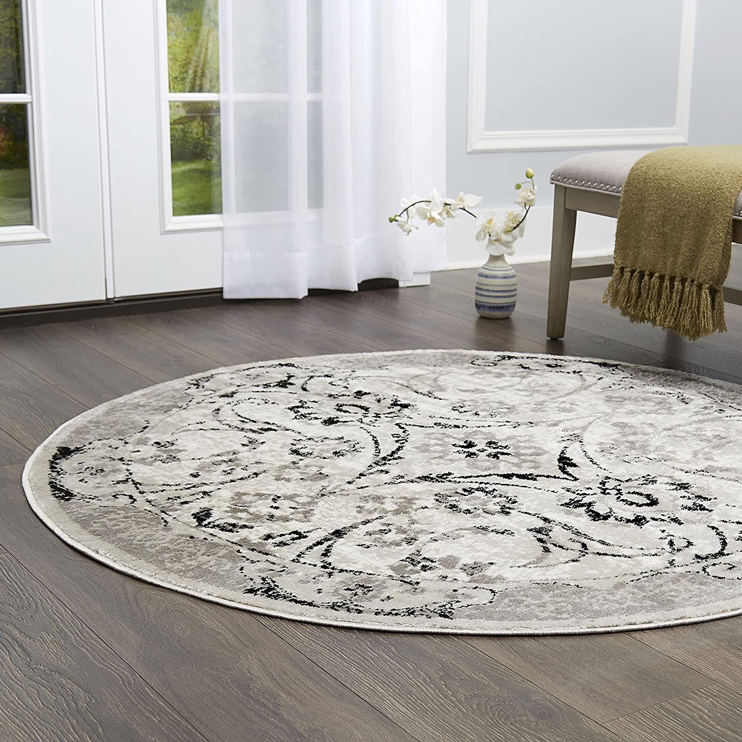 Home Dynamix Boho Shailene Area Rug | Transitional Living Room Rug |Modern  Floral Print with Contemporary Border | Distressed Texture | Silver 5\'2"|1500|1500|?|en|2|45484332bf278118f664c8140e1036cb|False|UNLIKELY|0.3045135736465454
