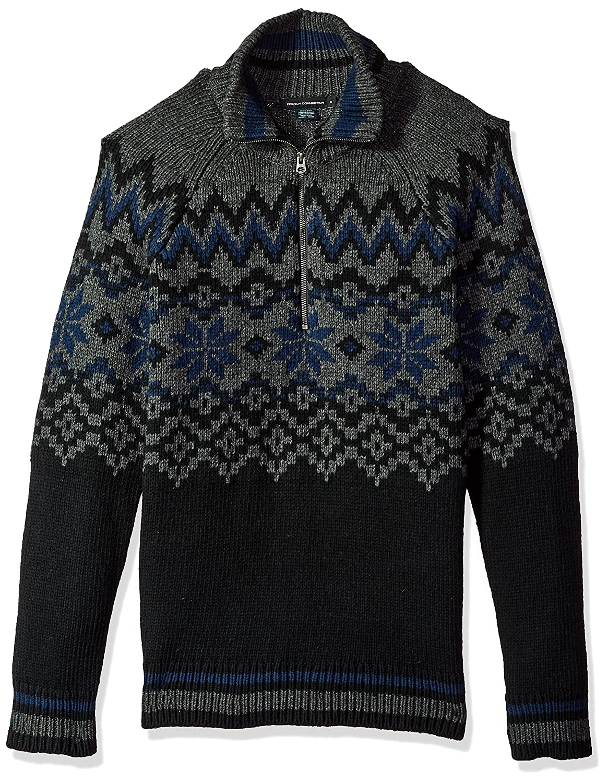 French Connection Mens Ski Fairisle Half Zip Sweater
