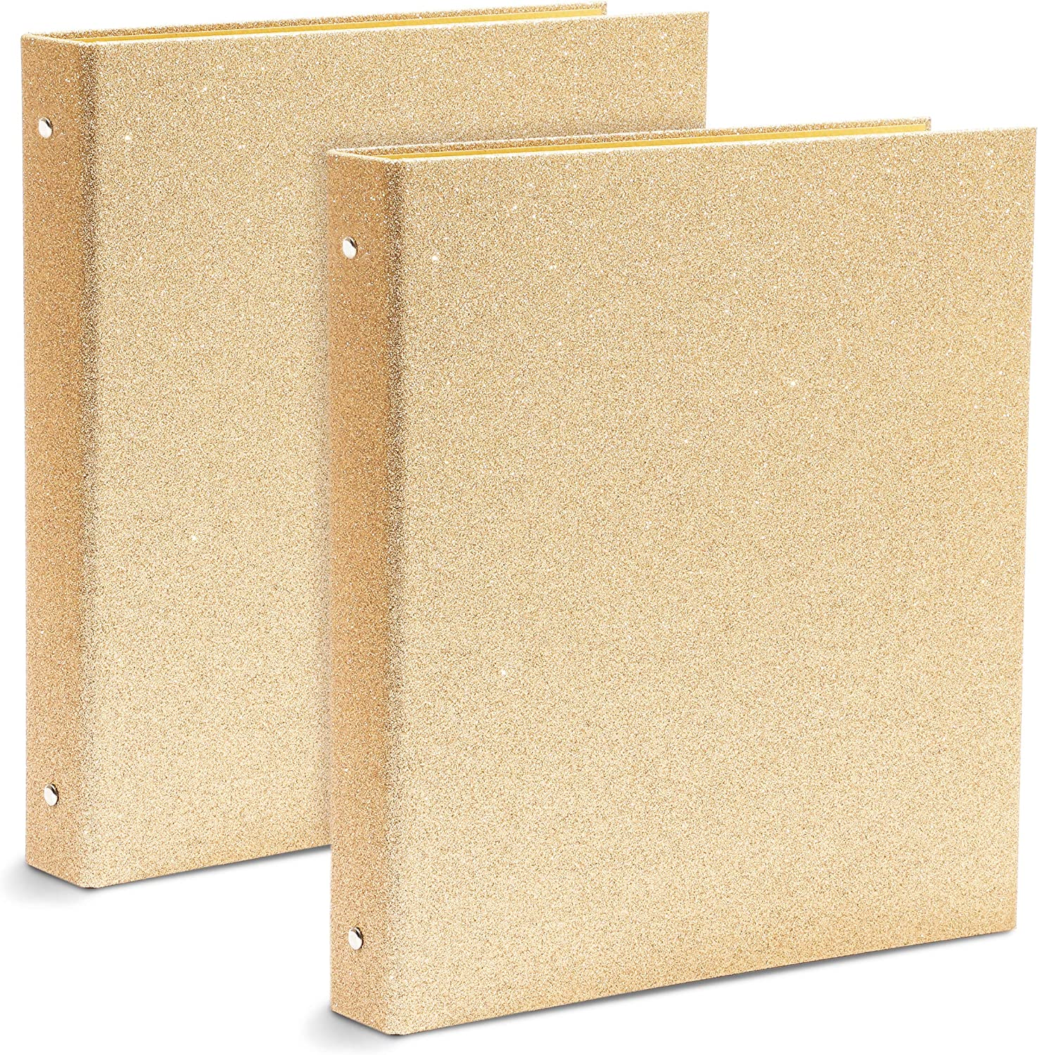 Glitter Gold 3-Ring Binder, Office Accessories (10.7 x 12 x 1.8 in, 2 Pack)