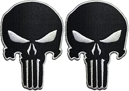Set 2 Of Black Skull Sew On Iron Embroidered Applique Patch