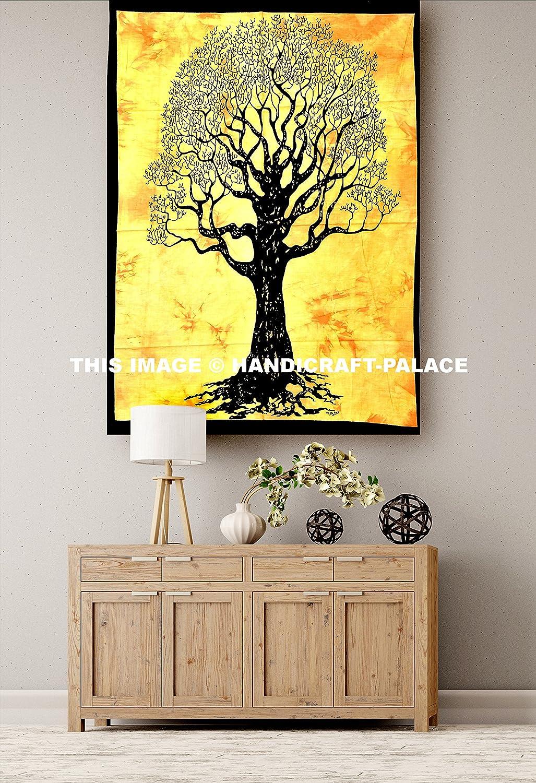 Amazon.com: Indian Handmade Rectangular Poster Tree Of Life Yellow ...