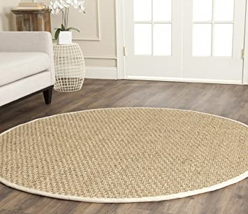 Amazon Com Safavieh Natural Fiber Collection Nf114j Border Basketweave Seagrass Area Rug 7 X 7 Round Ivory Furniture Decor