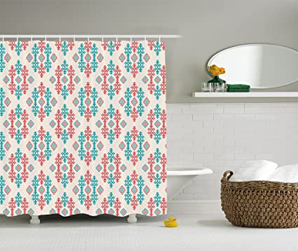 Ambesonne Native American Shower Curtain Ancient Ethnic Traditional Local Aztec Tribal Design Elements Fabric