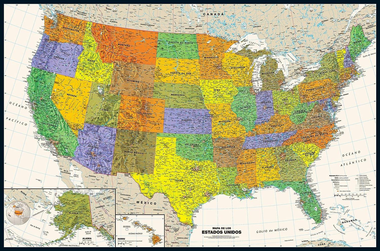 Amazon.com : Contemporary USA Wall Map in Spanish - 50\