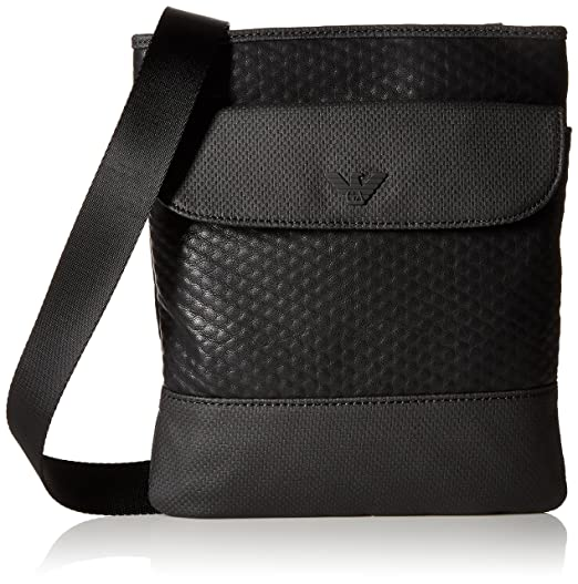 Armani Jeans Men s Embossed Pu and Canvas Small Shoulder Bag with Eagle Logo 32e4994eccc02