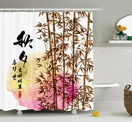 Amazon Bamboo House Decor Shower Curtain Set By Ambesonne Enchanting Words For Bathroom Painting