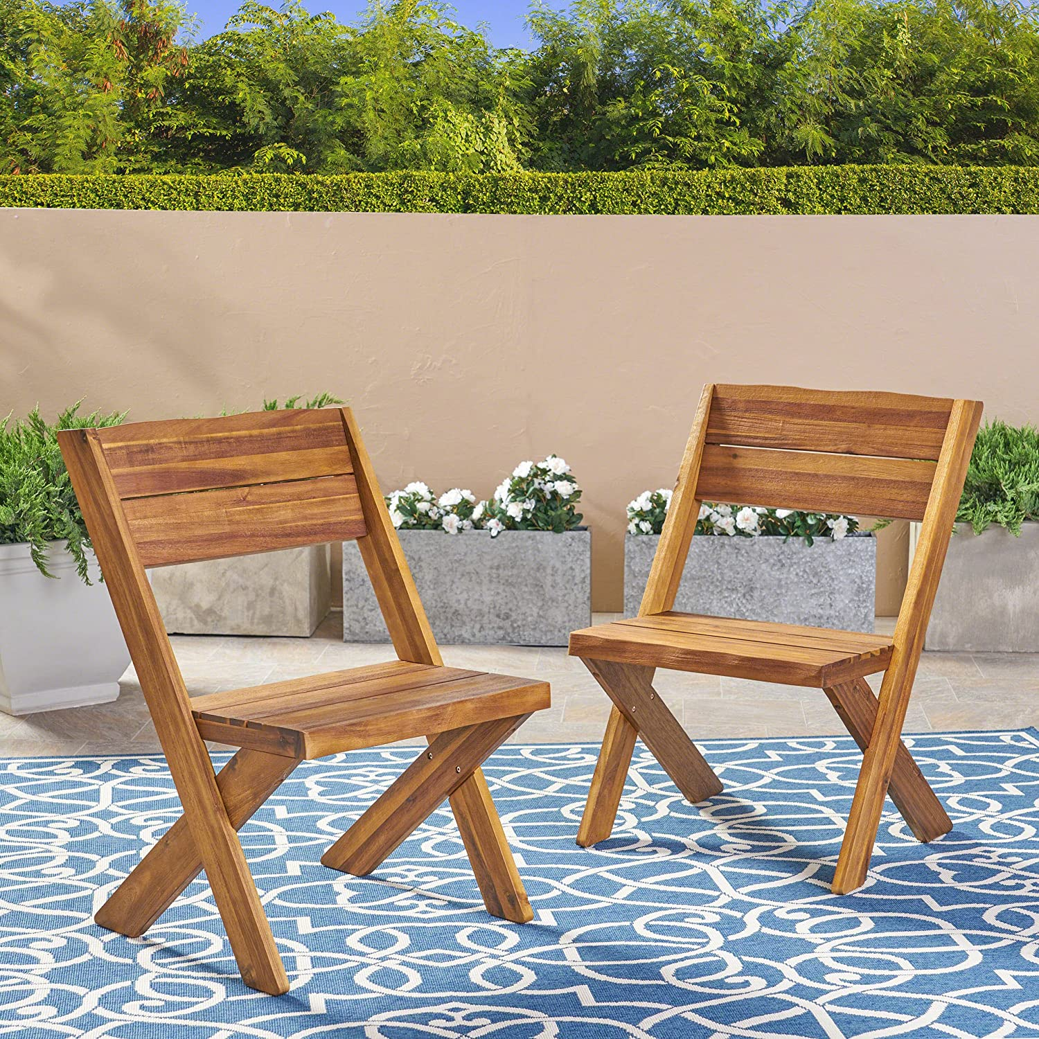 Amazon com great deal furniture irene outdoor acacia wood chairs set of 2 teak kitchen dining