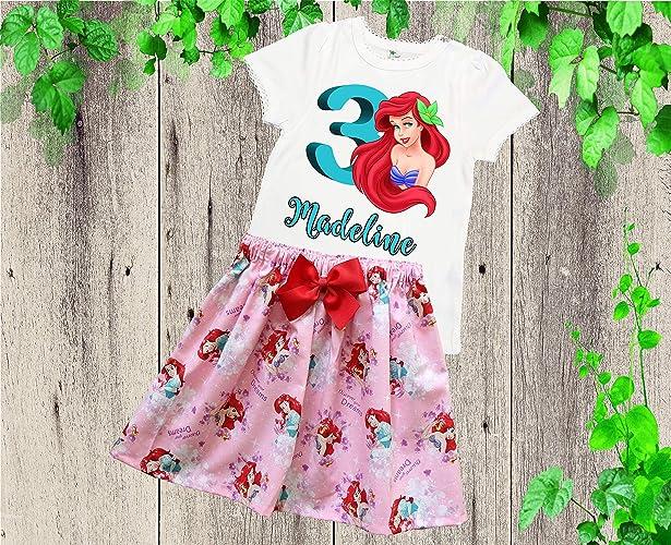 fe35a6d1a6a41 Amazon.com: Girl Ariel birthday outfit Girl Ariel skirt shirt outfit Girl Little  Mermaid outfit: Handmade